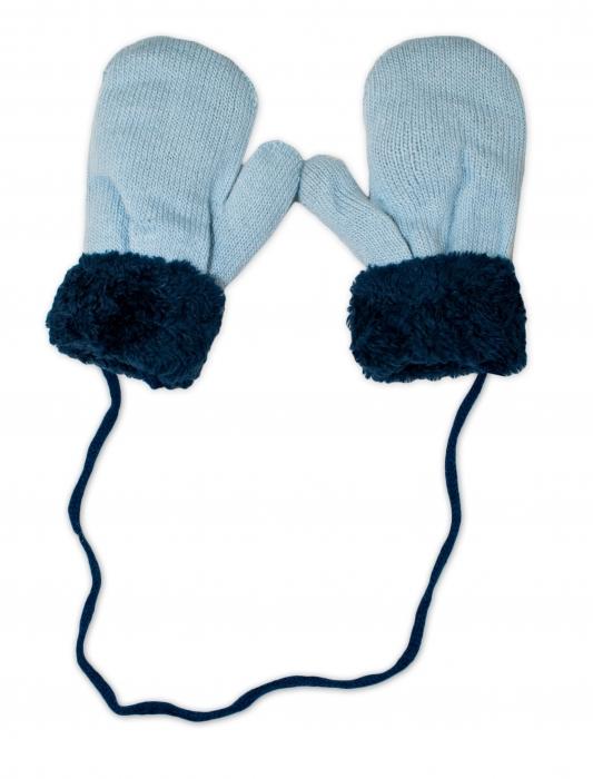 c672cf540e23 Zimné detské rukavice s kožušinou - šnúrkou YO - sv. modré  granát. kožušina
